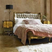 5ft - French Gilt - Silk Upholstered Deep Buttoned King Size Bed
