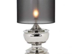Table Lamp & Shade - Medium Chrome Lamp - Black Organza Shade