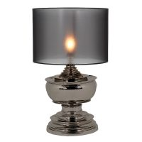 Table Lamp & Shade - Medium Black Nickel Table Lamp - Black See Through Shade