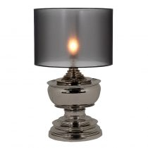 Pagoda Black Nickel Table Lamp & Shade