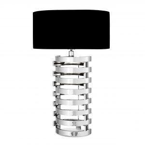 Table Lamp - Chrome Spiral Design Base - Black Oval Shade