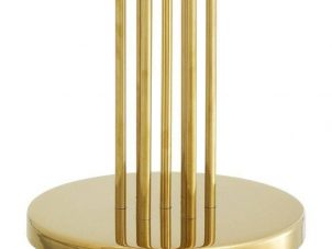 Floor Lamp - Polished Heavy Gold Standard Lamp & Black Shade