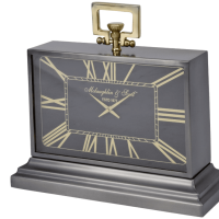 Mantel Clock - McLaughlin & Scott Clock Co - Black & Brass Mantel Clock