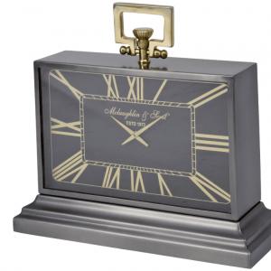Mantel Clock - McLaughlin & Scott Clock Co - Black & Brass Mantel Clock