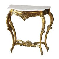 Console Table - Half Moon Carved Marble Top Console - Antique Gilt Range