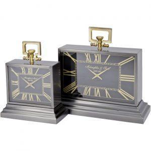 Mantel Clock - 'McLaughlin & Scott' Clock Co - Black & Brass Finish