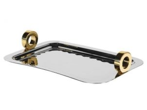 Serving Tray - Oblong Chrome & Gold Handle Design Tray