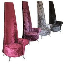Crushed Mulberry Velvet ~ High Back Potenza Chair ~ Left Or Right Arm