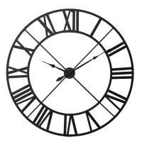 Wall Clock - Black Metal Skeleton Design Wall Clock - Roman Numerals