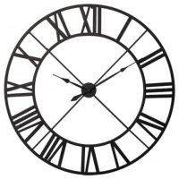 Wall Clock - Black Metal Outline - Skeleton Wall Clock - Roman Numerals