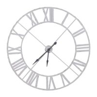 Wall Clock - Large Round White Painted Metal Skeleton Wall Clock