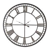 Wall Clock - Black Iron Skeleton Roman Numerals Wall Clock - Battery Operated