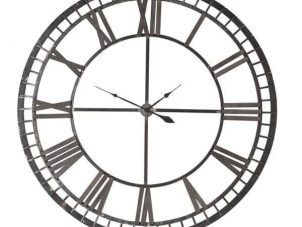 Wall Clock - Black Iron Skeleton Roman Numerals Wall Clock - Battery Operated
