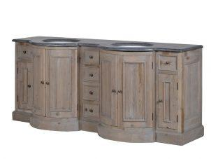 Sink Unit - Black Marble Top - Curved Design - Double Sink