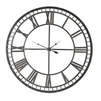 Black Iron Skeleton Roman Numerals Wall Clock - Battery Operated