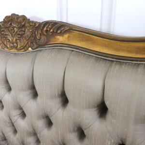 5ft King Size Bed - Silk Upholstered Deep Buttoned - Antique Gilt Range