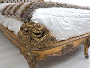 5ft King Size Bed - Silk Upholstered Deep Buttoned - Antique Gilt Range