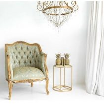 Library Chair - Gold & Green Silk Fabric - Carved Surround - French Gilt Finish