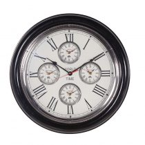 Round Black Ash & Nickel 4 Face World Time Clock - Roman Numerals