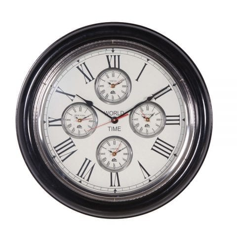 Round Black Ash & Nickel 4 Face World Time Clock - Roman Numerals