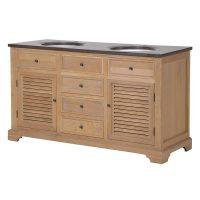 Sink Unit - Oak Louver Door - Marble Top - 4 Drawer - Double Sink Unit