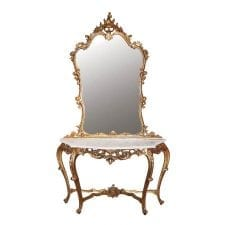 French Versailles Range - Marble Top Console & Mirror - Gilt Finish