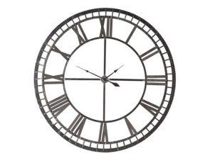 Wall Clock - Black Iron Skeleton Roman Numerals - Battery Operated