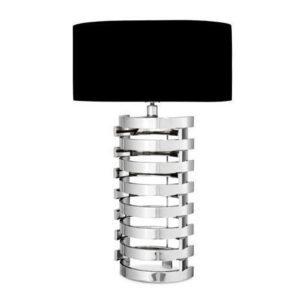 Table Lamp & Shade - Chrome Spiral Design Base - Black Oval Shade