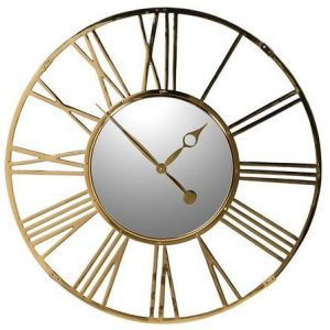Wall Clock - Round Polished Brass Skeleton Clock - Mirrored Face
