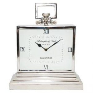 Mantel Clock - McLaughlin & Scott - Polished Chrome Rectangular Mantel Clock