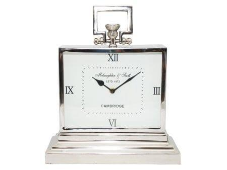 Mantel Clock - McLaughlin & Scott - Polished Chrome Rectangular Mantel Clock