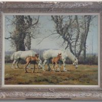 John Seery Lester Horses And Foals In A Field Original Oil Canvas