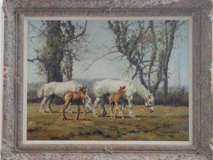 Original Oil Painting 'Horses And Foals' By John Seerey-Lester