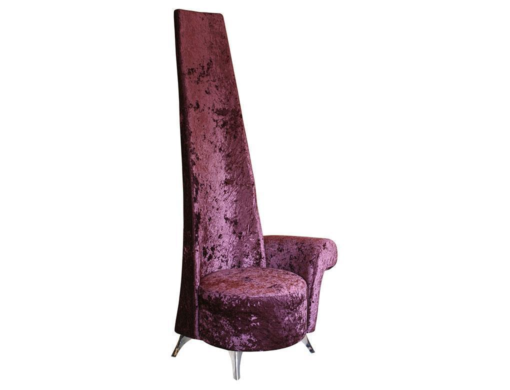 Genial Crushed Aubergine Velvet ~ High Back Potenza Chair ~ Left Arm   Womacks Of  Bawtry