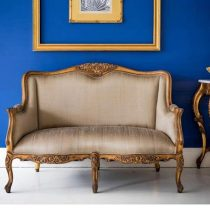 2 Seater Sofa - Silk Upholstery - Carved Surround - French Gilt Finish