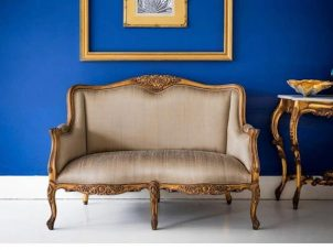 2 Seater Sofa - Silk Upholstery - Carved Surround - Antique Gilt Range