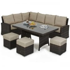 Kingston Corner Sofa Dining Set with Inset Ice Bucket - BROWN POLYWEAVE
