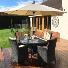 LA 4 Seat Round Garden Dining Set - Inset Ice Bucket - Umbrella - BROWN POLYWEAVE