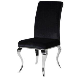 Dining Chair - Chrome Swirl Legs - Roll Top - Rich Black Velvet