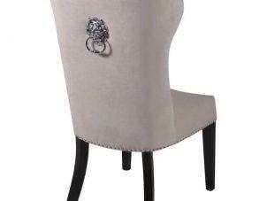 Dining Chair - Cream Velvet - Chrome Lion Knocker - Black Legs