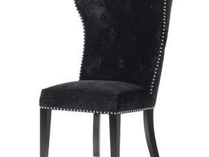 Dining Chair - Black Velvet - Chrome Lion Knocker - Black Legs