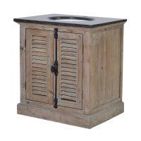 Sink Unit - Louvred Door - Black Marble Top - Single Sink Unit