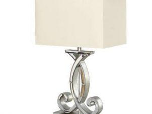 Table Lamp - Antique Silver & Mirror Finish - Rectangular Cream Shade
