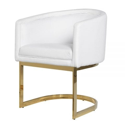 White Fabric Dining Chair - Polished Brass Frame