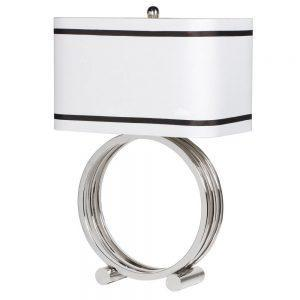 Table Lamp & Shade - Chrome Base Ring Design - Rectangular Piped Shade