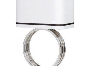 Table Lamp & Shade - Chrome Base Ring Design - Rectangular Piped Shade