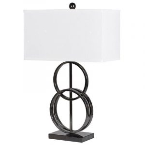 Table Lamp - Metal Dual Rings Table Lamp - Oblong White Linen Shade