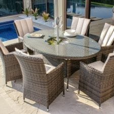 LA 6 Seat Oval Table Garden Dining Set - Inset Ice Bucket - Umbrella - BROWN POLYWEAVE