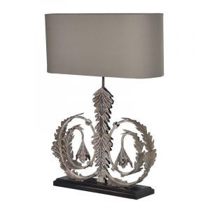 Table Lamp - Large Swirl Base Table Lamp - Oblong Taupe Shade