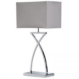 Table Lamp - Contemporary 'Cross Stem' Chrome Table Lamp - Grey Shade